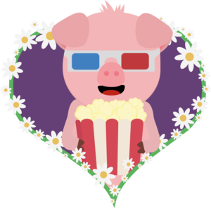 Cinema Pig With Flower Heart