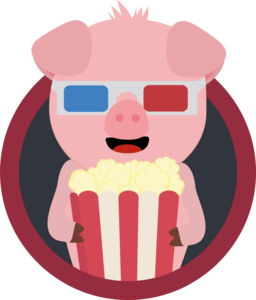 Cinema Pig With Popcorn In A Circle
