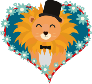 Lion With Hat In Flower Heart
