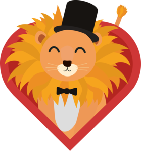Lion With Hat In Heart