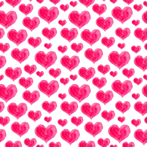 Watercolor Pink Hearts On White