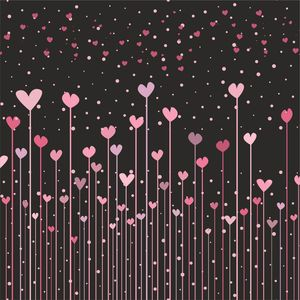 Pink Hearts Floating On Black