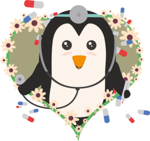 Penguin Doctor With Flower Heart
