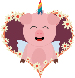 Unicorn Angel Pig In Flower Heart