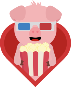 Cinema Pig With Popcorn In Heart