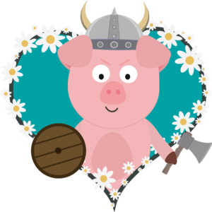 Viking Swine In Flower Heart