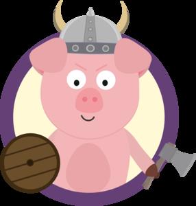 Viking Pig In Purple Circle