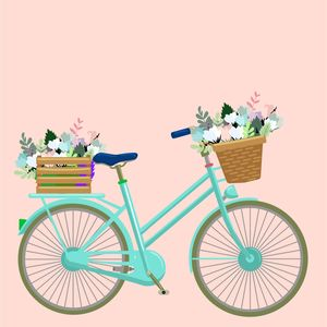 Vintage Bicycle With Flowers On Pink