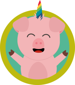 Unicorn Pig In Green Circle