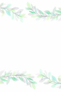 Green Floral Leaves On White