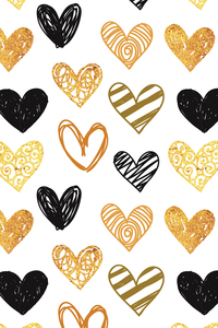 Golden Black Hearts On White