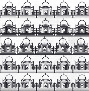 Taj Mahal Line Drawing On White