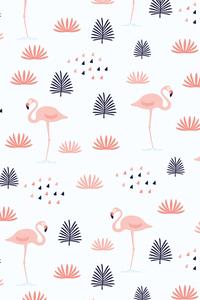 Orange Flamingo With Black Bushes