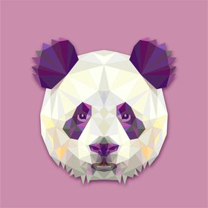 Isometric Panda On Purple