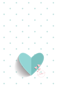 Blue Paper Heart And Polka Dots