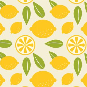 Lemon And Leaves Pattern On Yellow