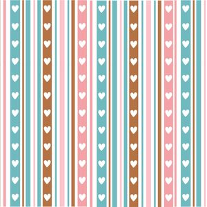 Hearts On Multicolor Vertical Stripes