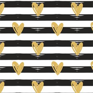 Golden Hearts On Black Lines
