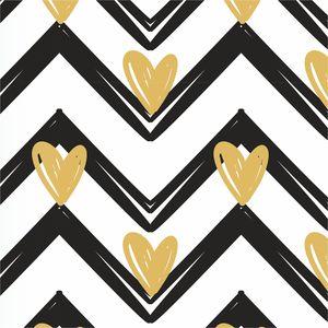Golden Hearts On Black Zigzag Lines
