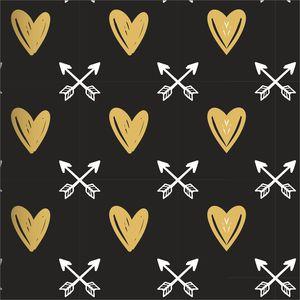 Golden Hearts White Arrows On Black
