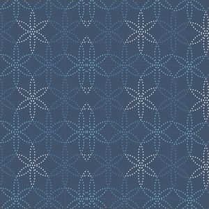 Dotted Flowers Pattern On Blue