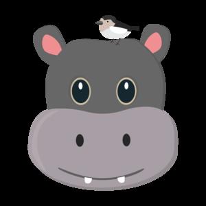 Cute Hippo With Bird