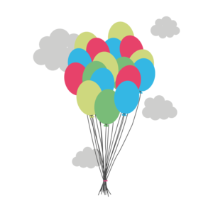 Colorful Balloons With Clouds