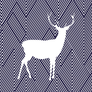 White Reindeer On Diagonal Stripes