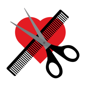 Scissors Comb On Red Heart
