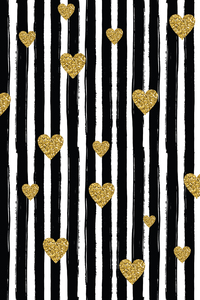 Golden Hearts On Black Vertical Lines