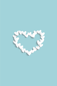 White Paper Hearts On Blue
