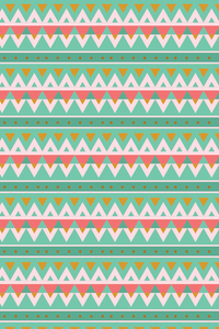Green Aztec Pattern With White And Pink