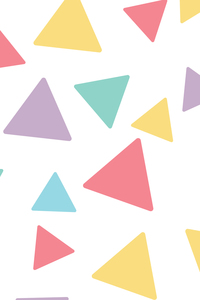 Multicolor Flying Triangles On White