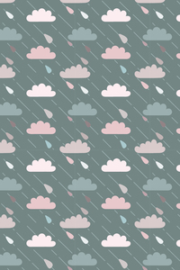 Green Blue Pink Clouds With Rain