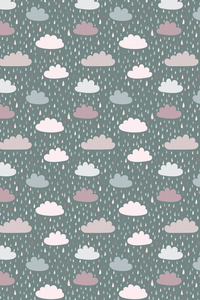 Dark Green Blue Pink Clouds With Rain