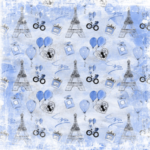 Paris France Eiffel Tower In Blue