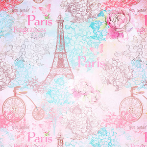 Paris France Eiffel Tower In Pink With Rose