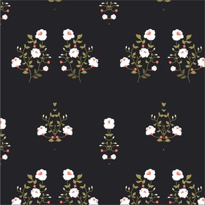 White And Green Floral Pattern On Black