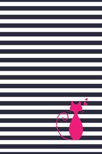 Cat Lover On Black White Stripes