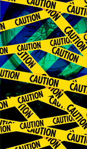 Caution Tape On Blue