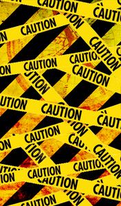 Caution Tape On Yellow