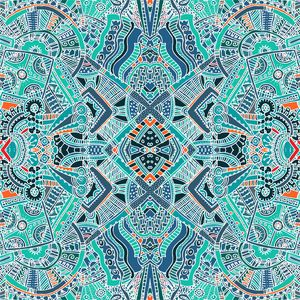 Green Turquoise Aztec Pattern