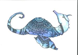 Seahorse Mandala On White