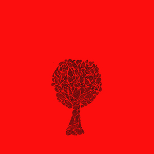 Zentangle Tree On Red