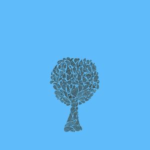 Zentangle Tree On Blue