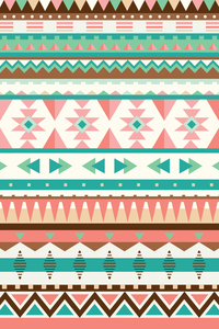 Orange Green Aztec Boho Pattern
