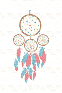 Dream Catcher Pink Blue Feathers