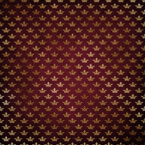 Red Burgundy Gold Crown Damask