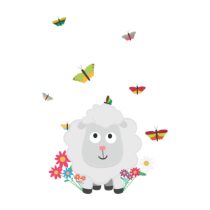 Sheep With Flowers And Butterflies