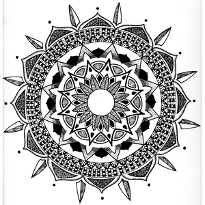 Monochrome Mandala Flower